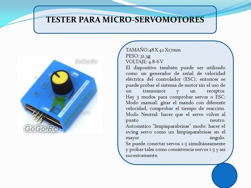 TAMAÑO:48 X 42 X17mm PESO: 31.5g VOLTAJE: 4.8-6 V El dispositivo también puede ser utilizado como un generador de señal de velocidad eléctrica del con