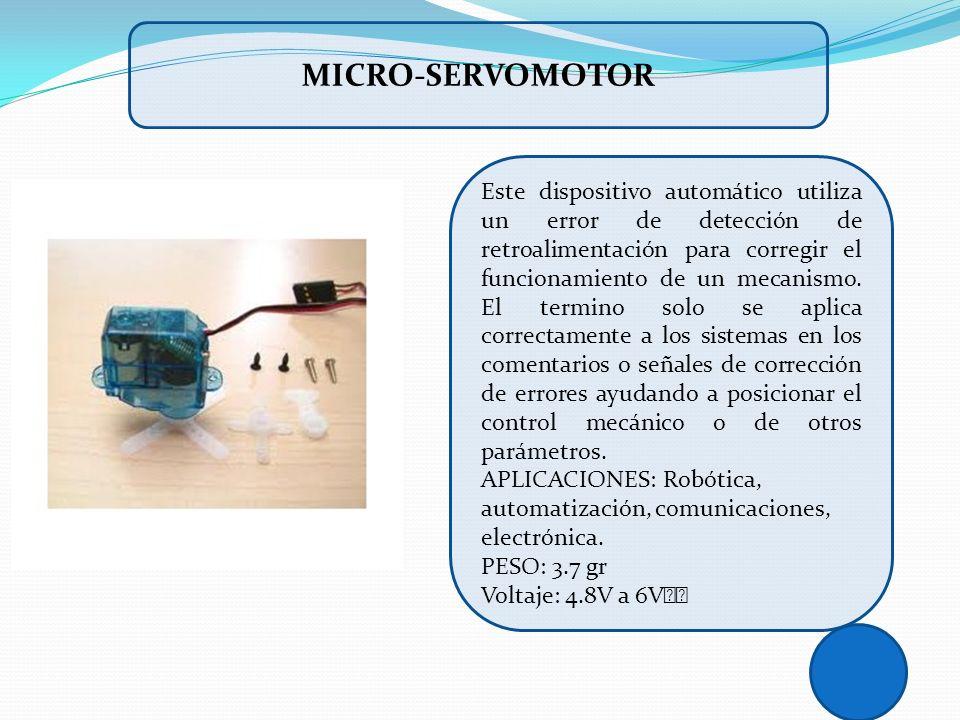 Este dispositivo automático utiliza un error de detección de retroalimentación para corregir el funcionamiento de un mecanismo. El termino solo se apl