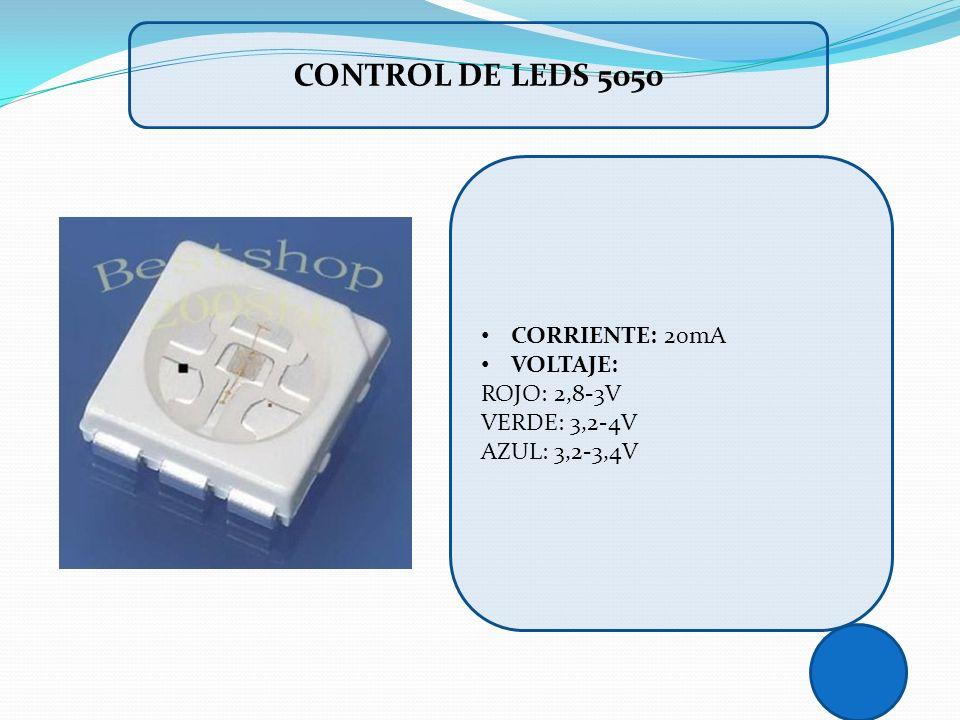 CORRIENTE: 20mA VOLTAJE: ROJO: 2,8-3V VERDE: 3,2-4V AZUL: 3,2-3,4V CONTROL DE LEDS 5050