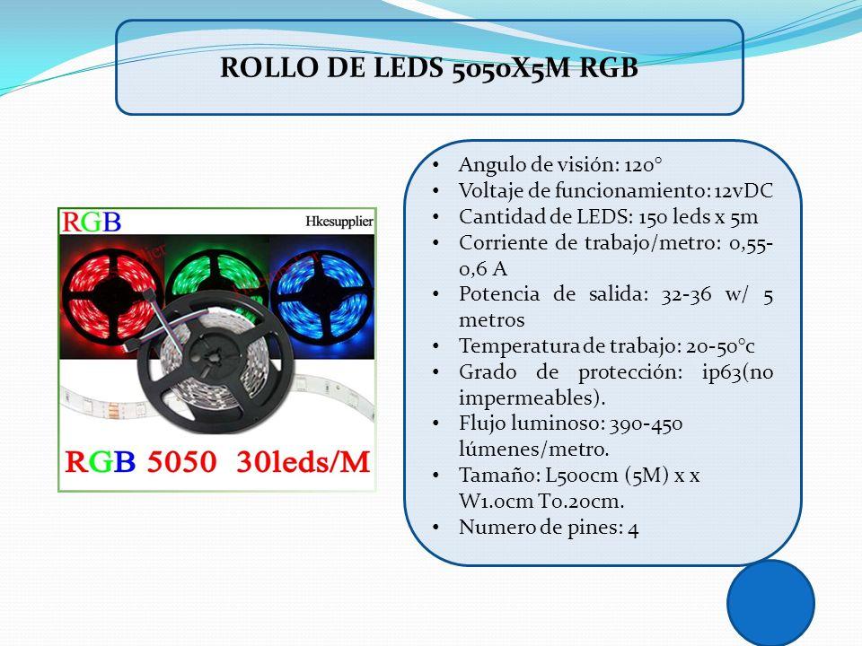 Angulo de visión: 120° Voltaje de funcionamiento: 12vDC Cantidad de LEDS: 150 leds x 5m Corriente de trabajo/metro: 0,55- 0,6 A Potencia de salida: 32