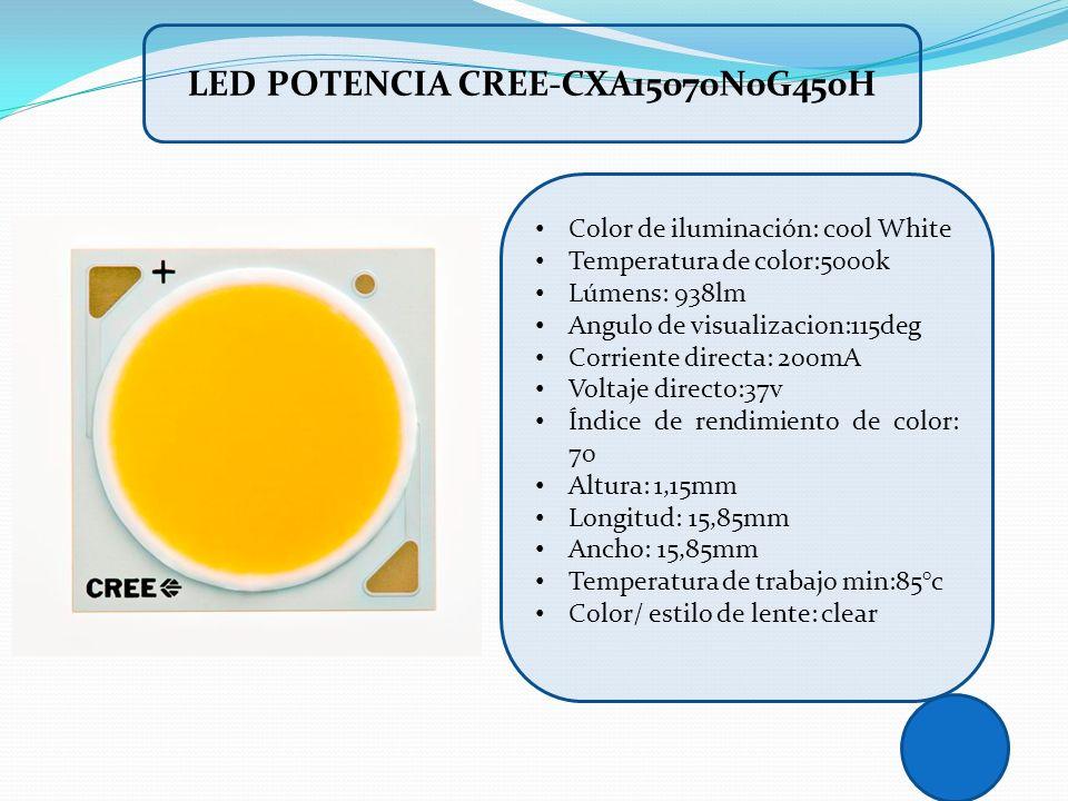 Color de iluminación: cool White Temperatura de color:5000k Lúmens: 938lm Angulo de visualizacion:115deg Corriente directa: 200mA Voltaje directo:37v