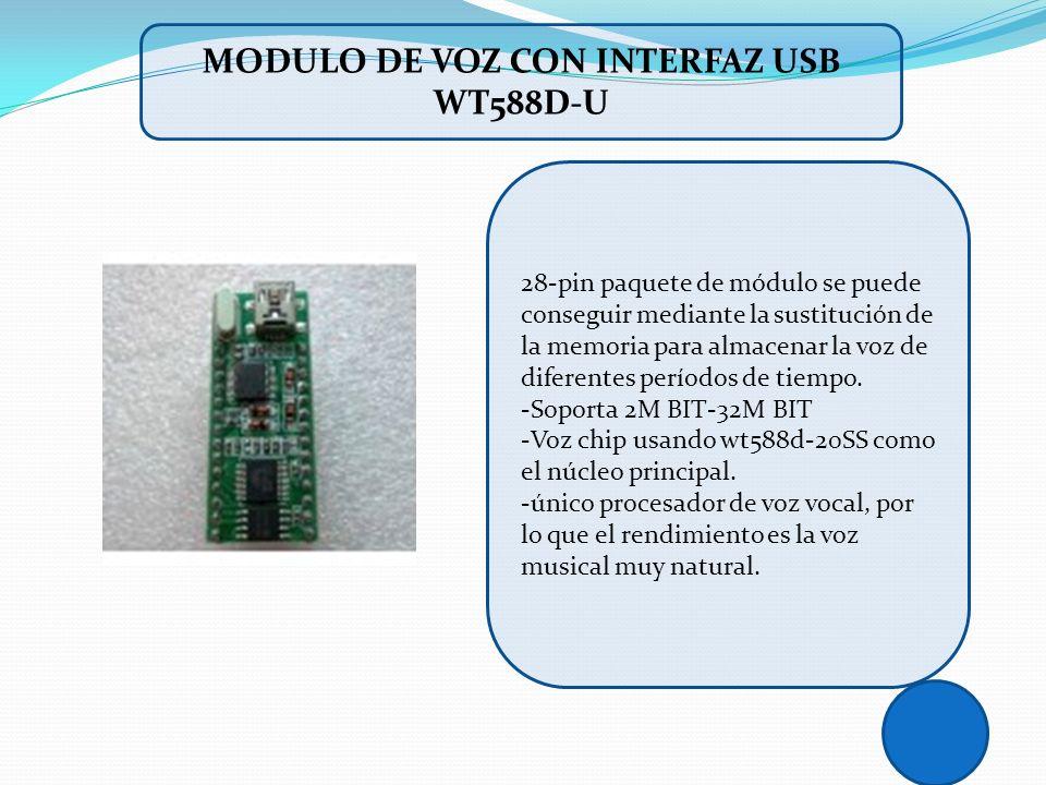 28-pin paquete de módulo se puede conseguir mediante la sustitución de la memoria para almacenar la voz de diferentes períodos de tiempo. -Soporta 2M