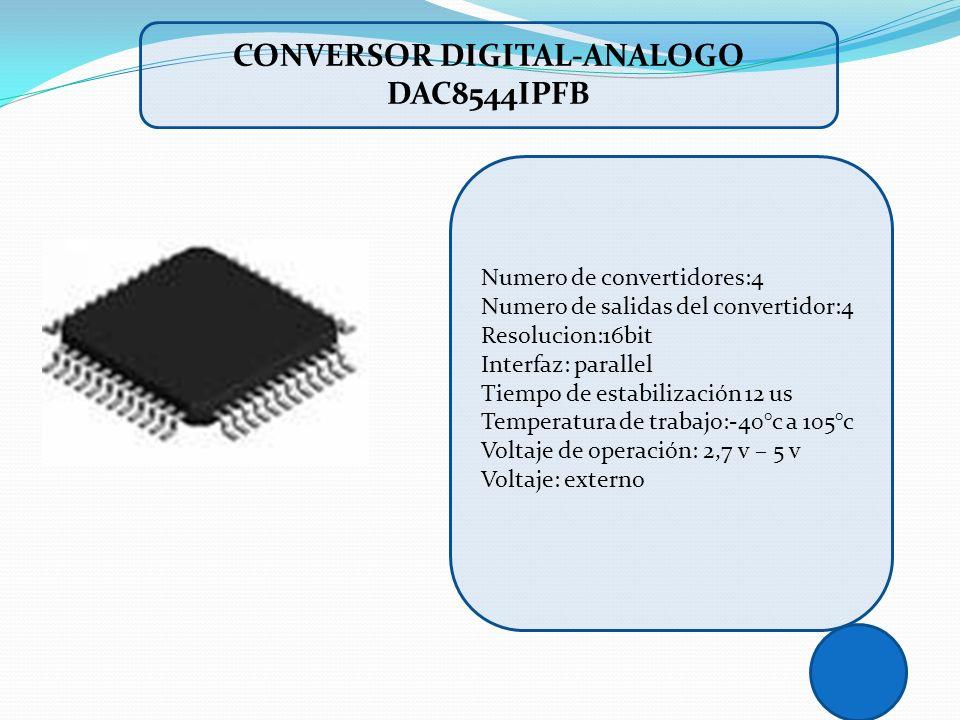 CONVERSOR DIGITAL-ANALOGO DAC8544IPFB Numero de convertidores:4 Numero de salidas del convertidor:4 Resolucion:16bit Interfaz: parallel Tiempo de esta