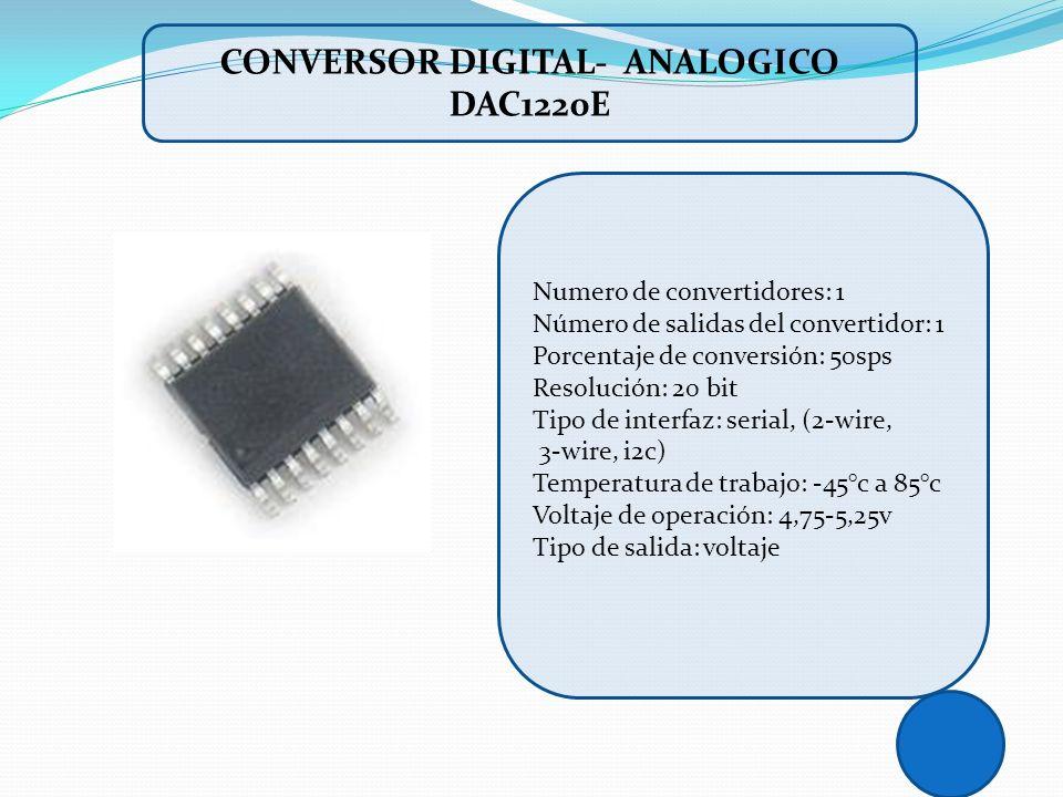 Numero de convertidores: 1 Número de salidas del convertidor: 1 Porcentaje de conversión: 50sps Resolución: 20 bit Tipo de interfaz: serial, (2-wire,