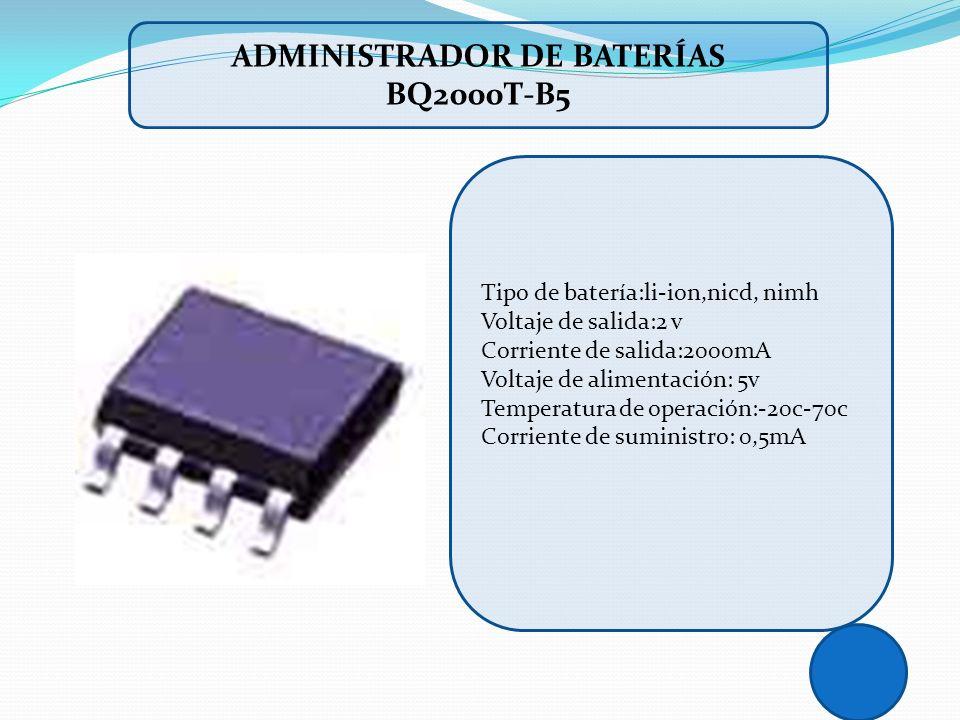 Tipo de batería:li-ion,nicd, nimh Voltaje de salida:2 v Corriente de salida:2000mA Voltaje de alimentación: 5v Temperatura de operación:-20c-70c Corri