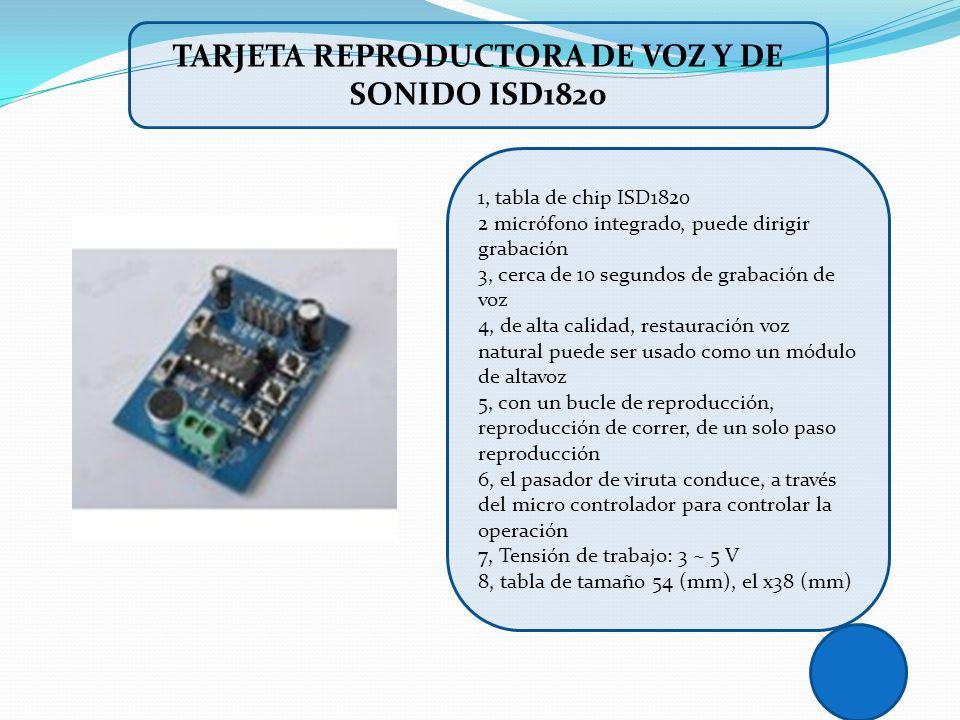 1, tabla de chip ISD1820 2 micrófono integrado, puede dirigir grabación 3, cerca de 10 segundos de grabación de voz 4, de alta calidad, restauración v