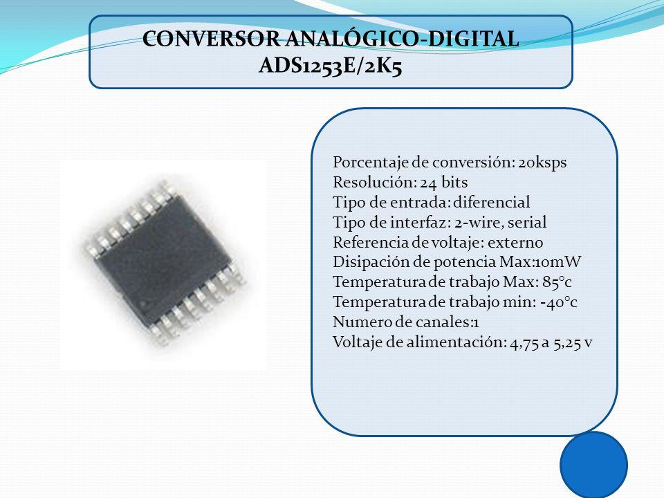 Porcentaje de conversión: 20ksps Resolución: 24 bits Tipo de entrada: diferencial Tipo de interfaz: 2-wire, serial Referencia de voltaje: externo Disi