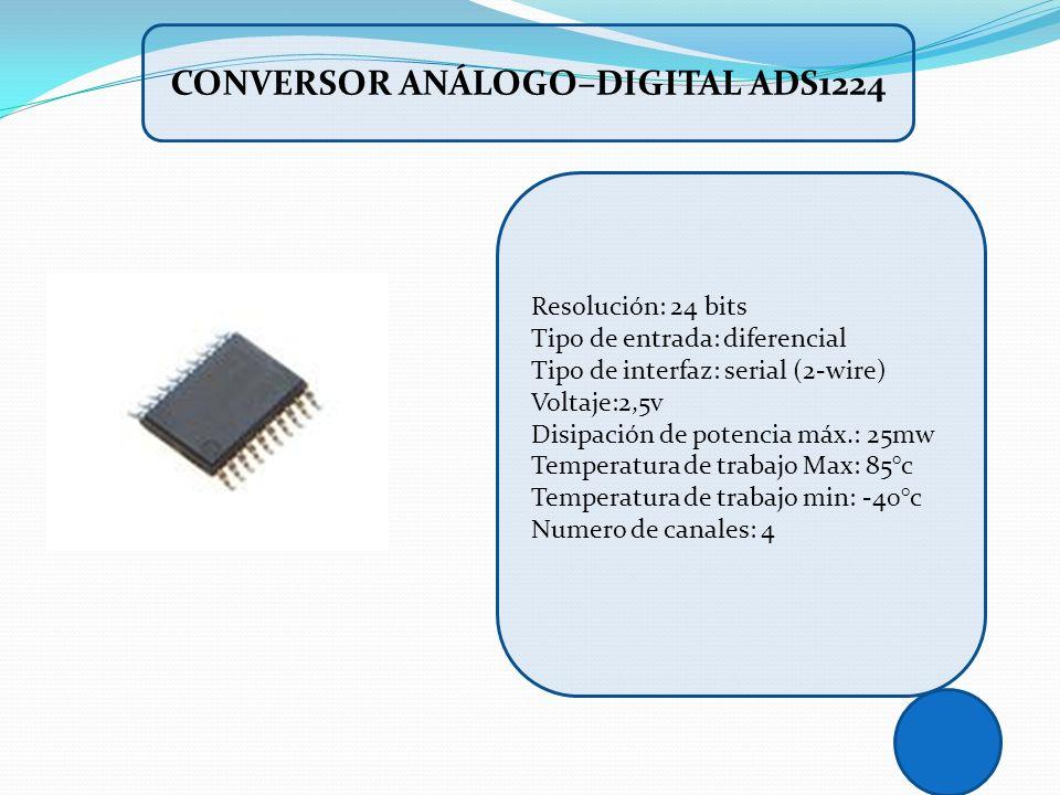 Resolución: 24 bits Tipo de entrada: diferencial Tipo de interfaz: serial (2-wire) Voltaje:2,5v Disipación de potencia máx.: 25mw Temperatura de traba