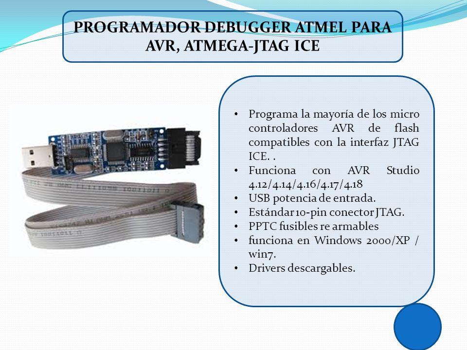 PROGRAMADOR DEBUGGER ATMEL PARA AVR, ATMEGA-JTAG ICE Programa la mayoría de los micro controladores AVR de flash compatibles con la interfaz JTAG ICE.