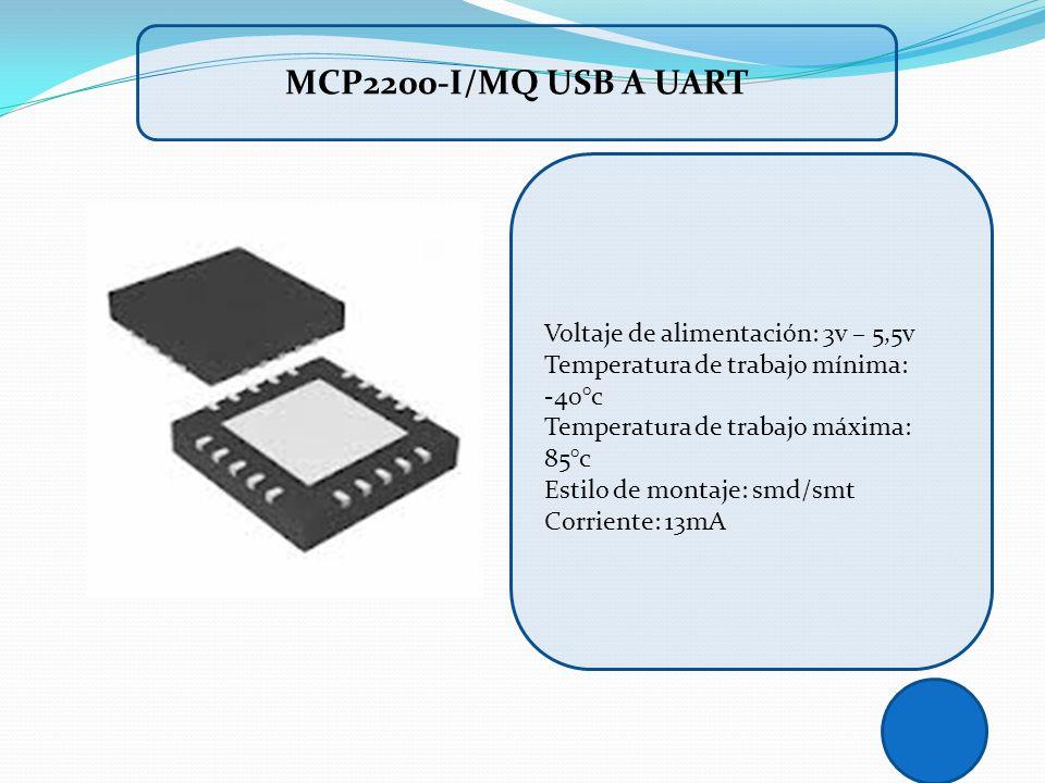 Voltaje de alimentación: 3v – 5,5v Temperatura de trabajo mínima: -40°c Temperatura de trabajo máxima: 85°c Estilo de montaje: smd/smt Corriente: 13mA
