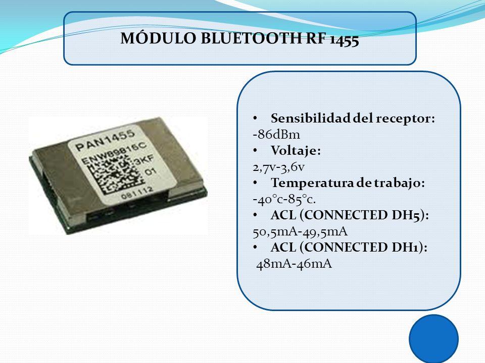 Sensibilidad del receptor: -86dBm Voltaje: 2,7v-3,6v Temperatura de trabajo: -40°c-85°c. ACL (CONNECTED DH5): 50,5mA-49,5mA ACL (CONNECTED DH1): 48mA-