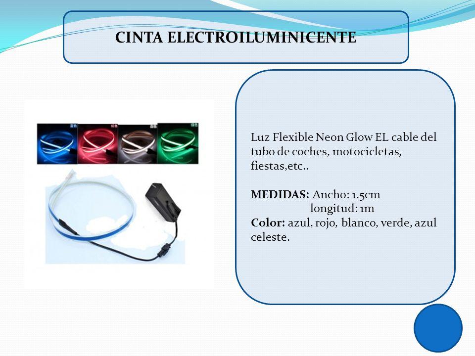 Luz Flexible Neon Glow EL cable del tubo de coches, motocicletas, fiestas,etc.. MEDIDAS: Ancho: 1.5cm longitud: 1m Color: azul, rojo, blanco, verde, a