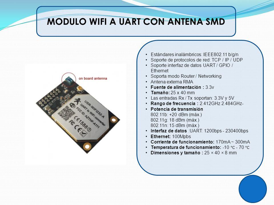 Estándares inalámbricos: IEEE802.11 b/g/n Soporte de protocolos de red: TCP / IP / UDP Soporte interfaz de datos UART / GPIO / Ethernet Soporta modo R