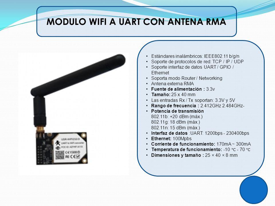 MODULO WIFI A UART CON ANTENA RMA Estándares inalámbricos: IEEE802.11 b/g/n Soporte de protocolos de red: TCP / IP / UDP Soporte interfaz de datos UAR