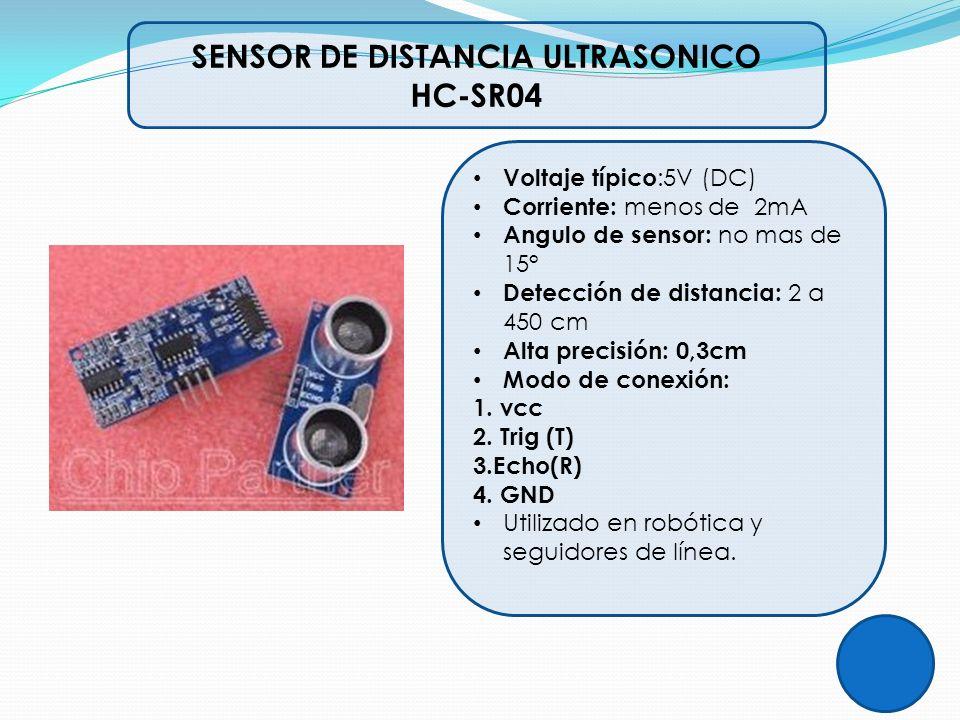 Voltaje típico :5V (DC) Corriente: menos de 2mA Angulo de sensor: no mas de 15° Detección de distancia: 2 a 450 cm Alta precisión: 0,3cm Modo de conex