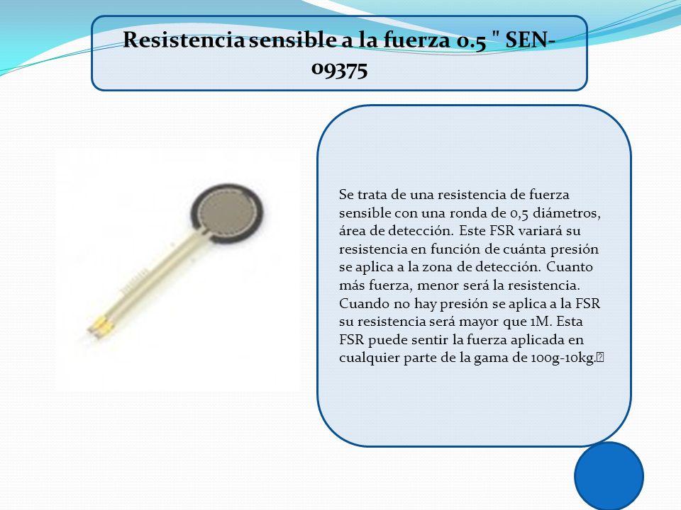 Se trata de una resistencia de fuerza sensible con una ronda de 0,5 diámetros, área de detección. Este FSR variará su resistencia en función de cuánta