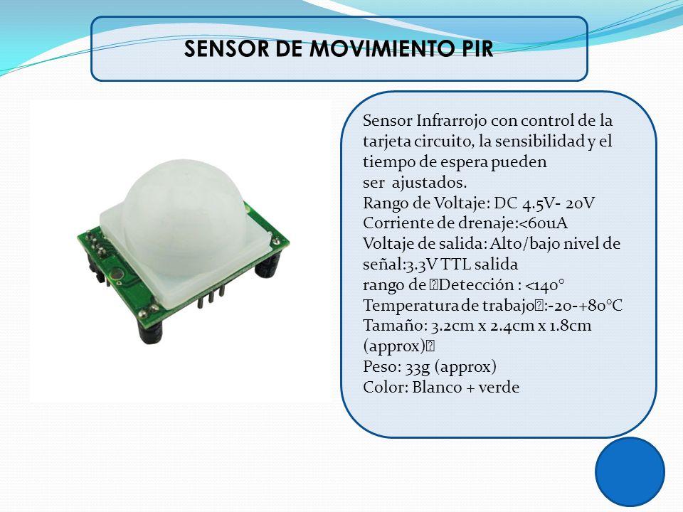 SENSOR DE MOVIMIENTO PIR Sensor Infrarrojo con control de la tarjeta circuito, la sensibilidad y el tiempo de espera pueden ser ajustados. Rango de Vo