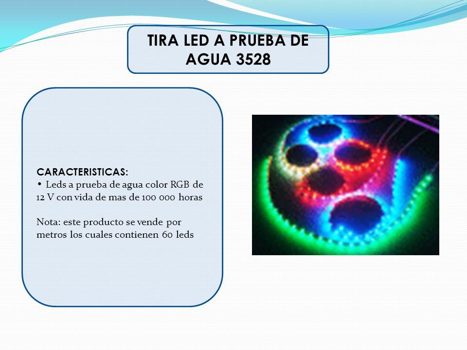 CARACTERISTICAS: Leds a prueba de agua color RGB de 12 V con vida de mas de 100 000 horas Nota: este producto se vende por metros los cuales contienen