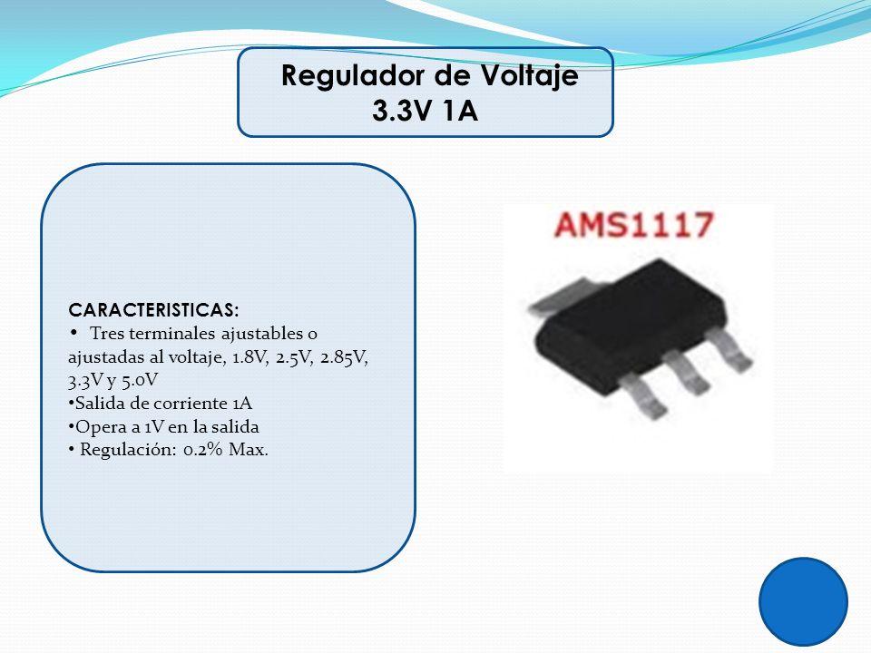 CARACTERISTICAS: Tres terminales ajustables o ajustadas al voltaje, 1.8V, 2.5V, 2.85V, 3.3V y 5.0V Salida de corriente 1A Opera a 1V en la salida Regu