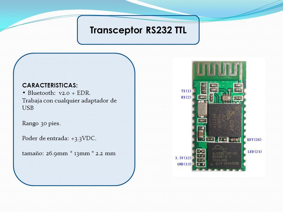 CARACTERISTICAS: Bluetooth: v2.0 + EDR. Trabaja con cualquier adaptador de USB Rango 30 pies. Poder de entrada: +3.3VDC. tamaño: 26.9mm * 13mm * 2.2 m