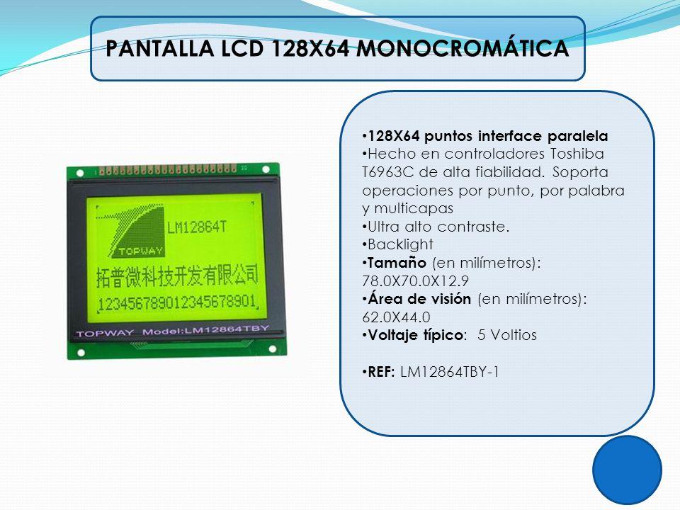 PANTALLA LCD 128X64 MONOCROMÁTICA 128X64 puntos interface paralela Hecho en controladores Toshiba T6963C de alta fiabilidad. Soporta operaciones por p