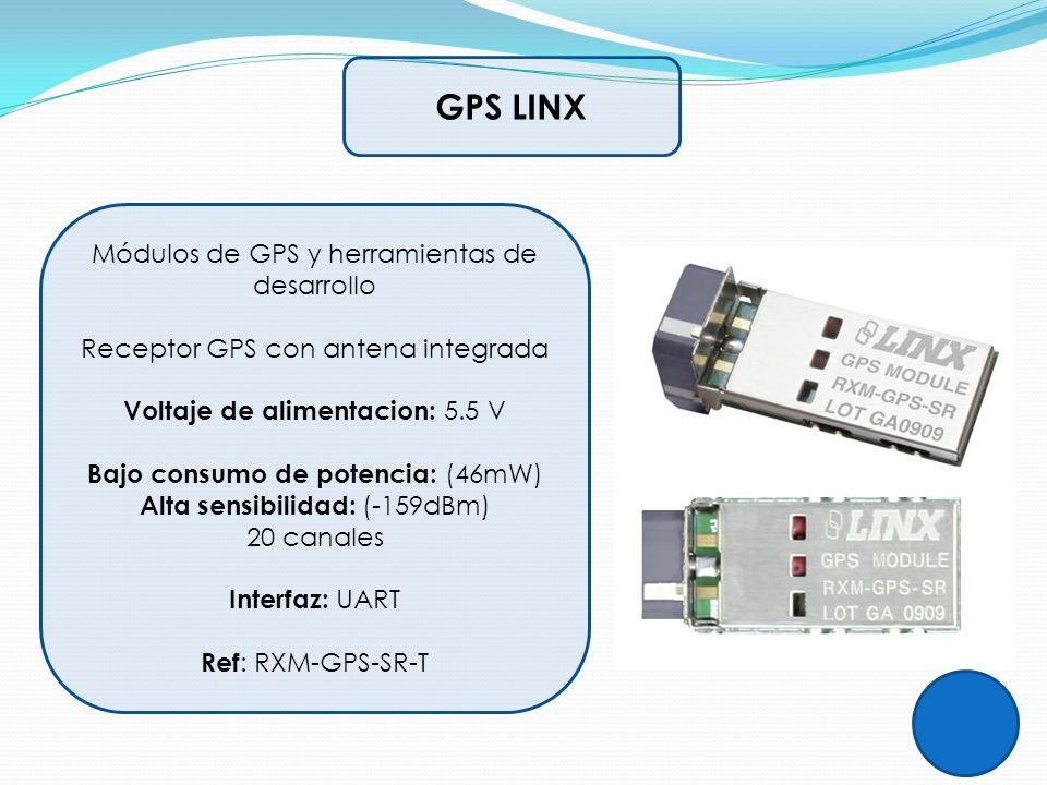 GPS LINX Módulos de GPS y herramientas de desarrollo Receptor GPS con antena integrada Voltaje de alimentacion: 5.5 V Bajo consumo de potencia: (46mW)