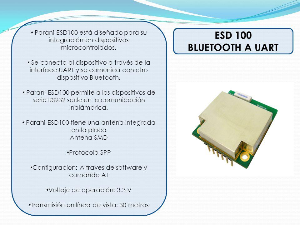 ESD 100 BLUETOOTH A UART Parani-ESD100 está diseñado para su integración en dispositivos microcontrolados. Se conecta al dispositivo a través de la in