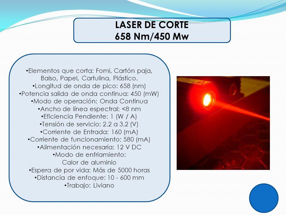 LASER DE CORTE 658 Nm/450 Mw Elementos que corta: Fomi, Cartón paja, Balso, Papel, Cartulina, Plástico. Longitud de onda de pico: 658 (nm) Potencia sa