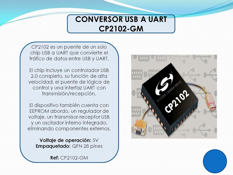 CONVERSOR USB A UART CP2102-GM CP2102 es un puente de un solo chip USB a UART que convierte el tráfico de datos entre USB y UART. El chip incluye un c