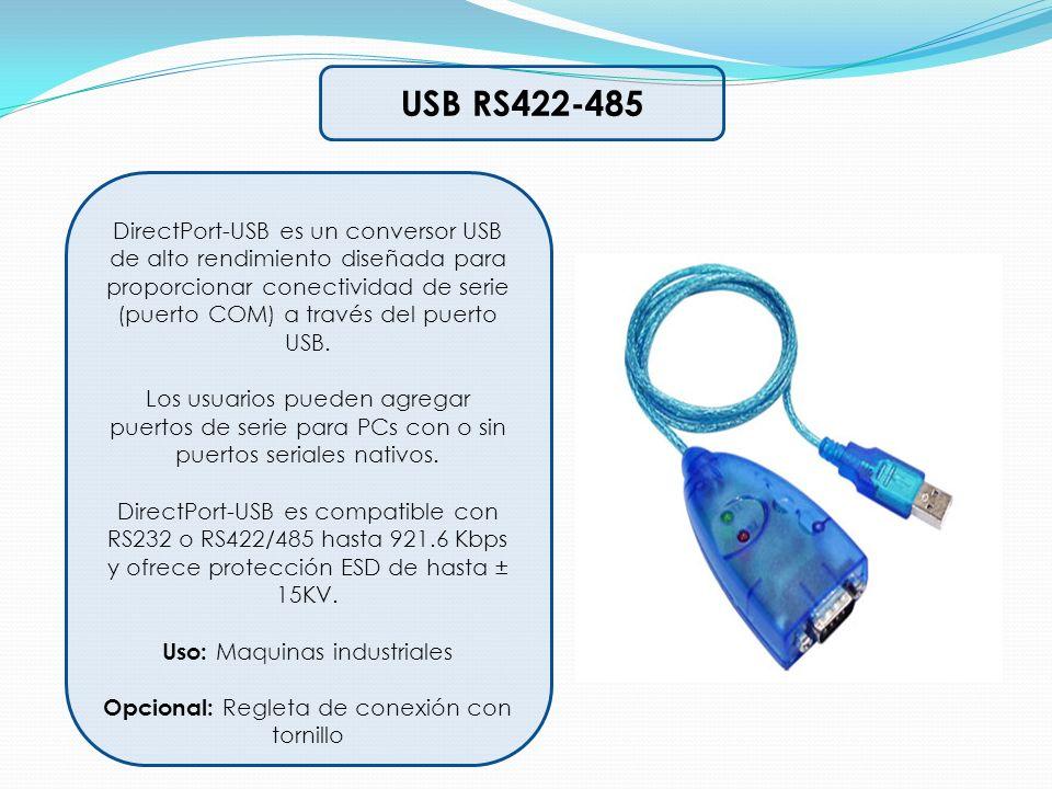 USB RS422-485 DirectPort-USB es un conversor USB de alto rendimiento diseñada para proporcionar conectividad de serie (puerto COM) a través del puerto