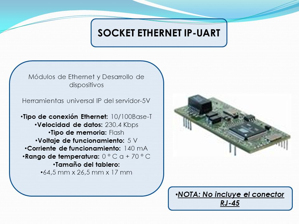 SOCKET ETHERNET IP-UART Módulos de Ethernet y Desarrollo de dispositivos Herramientas universal IP del servidor-5V Tipo de conexión Ethernet: 10/100Ba