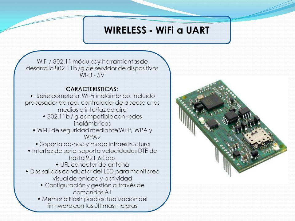 WIRELESS - WiFi a UART WiFi / 802.11 módulos y herramientas de desarrollo 802.11b /g de servidor de dispositivos Wi-Fi - 5V CARACTERISTICAS: Serie com