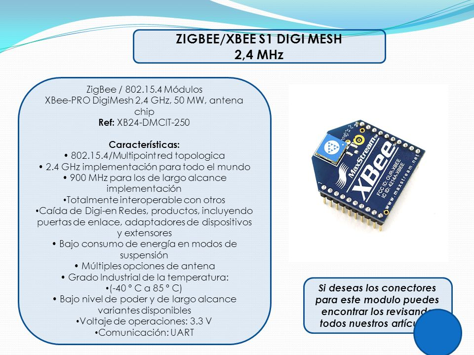 ZIGBEE/XBEE S1 DIGI MESH 2,4 MHz ZigBee / 802.15.4 Módulos XBee-PRO DigiMesh 2,4 GHz, 50 MW, antena chip Ref: XB24-DMCIT-250 Características: 802.15.4