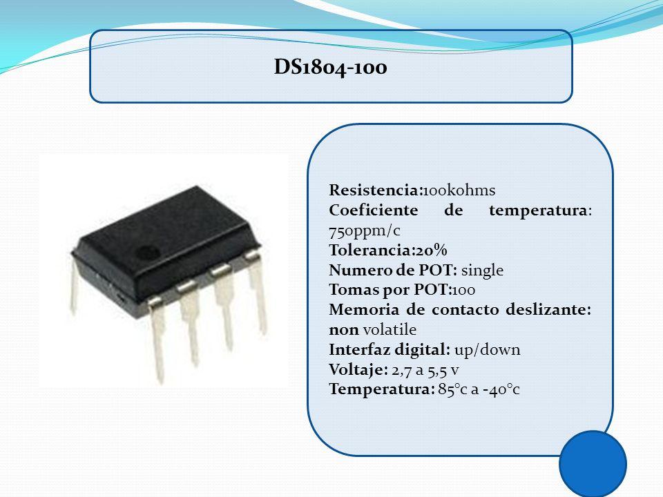 Resistencia:100kohms Coeficiente de temperatura: 750ppm/c Tolerancia:20% Numero de POT: single Tomas por POT:100 Memoria de contacto deslizante: non v