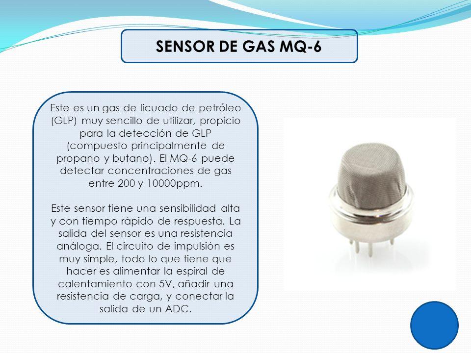 SENSOR DE GAS MQ-6 Este es un gas de licuado de petróleo (GLP) muy sencillo de utilizar, propicio para la detección de GLP (compuesto principalmente d