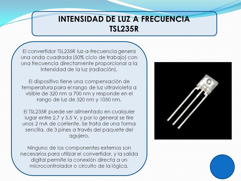 INTENSIDAD DE LUZ A FRECUENCIA TSL235R El convertidor TSL235R luz-a-frecuencia genera una onda cuadrada (50% ciclo de trabajo) con una frecuencia dire