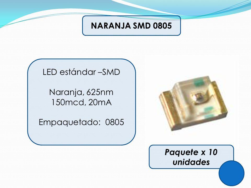 NARANJA SMD 0805 LED estándar –SMD Naranja, 625nm 150mcd, 20mA Empaquetado: 0805 Paquete x 10 unidades