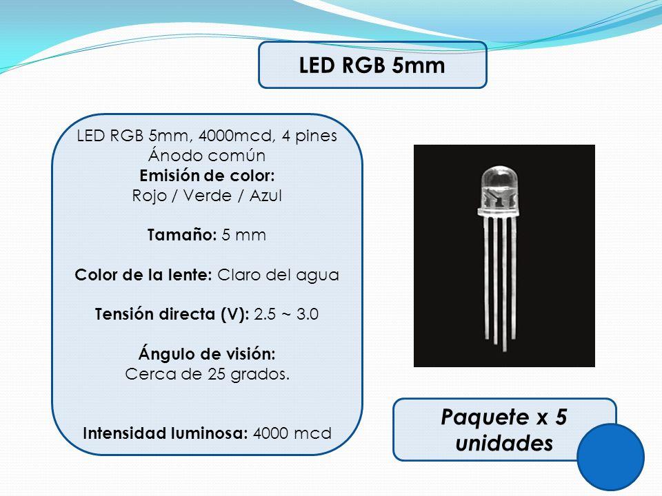 LED RGB 5mm LED RGB 5mm, 4000mcd, 4 pines Ánodo común Emisión de color: Rojo / Verde / Azul Tamaño: 5 mm Color de la lente: Claro del agua Tensión dir
