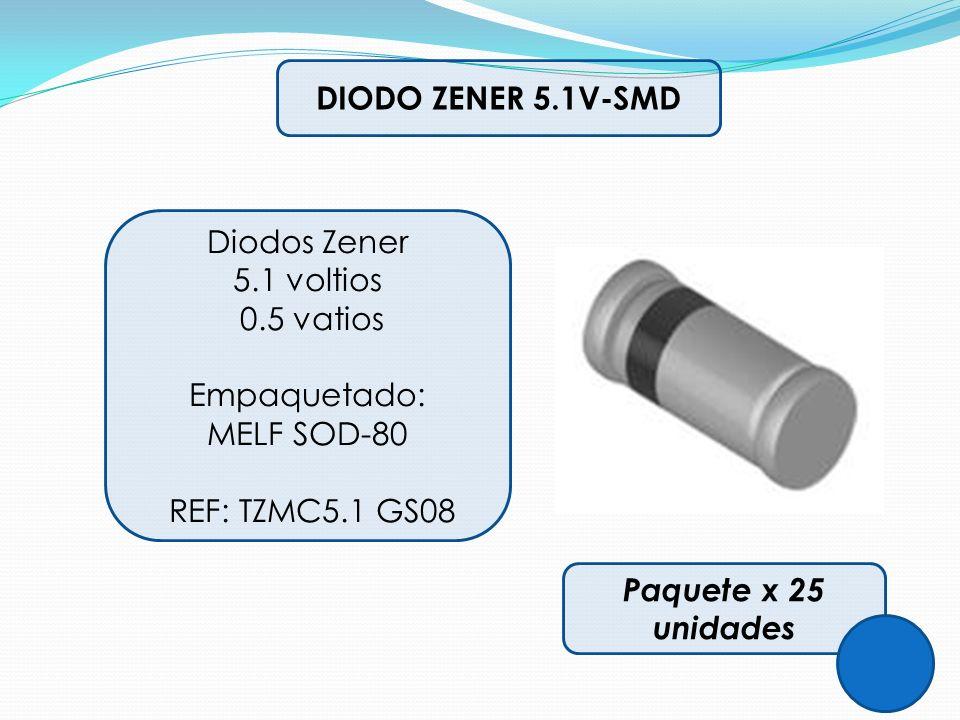 DIODO ZENER 5.1V-SMD Diodos Zener 5.1 voltios 0.5 vatios Empaquetado: MELF SOD-80 REF: TZMC5.1 GS08 Paquete x 25 unidades
