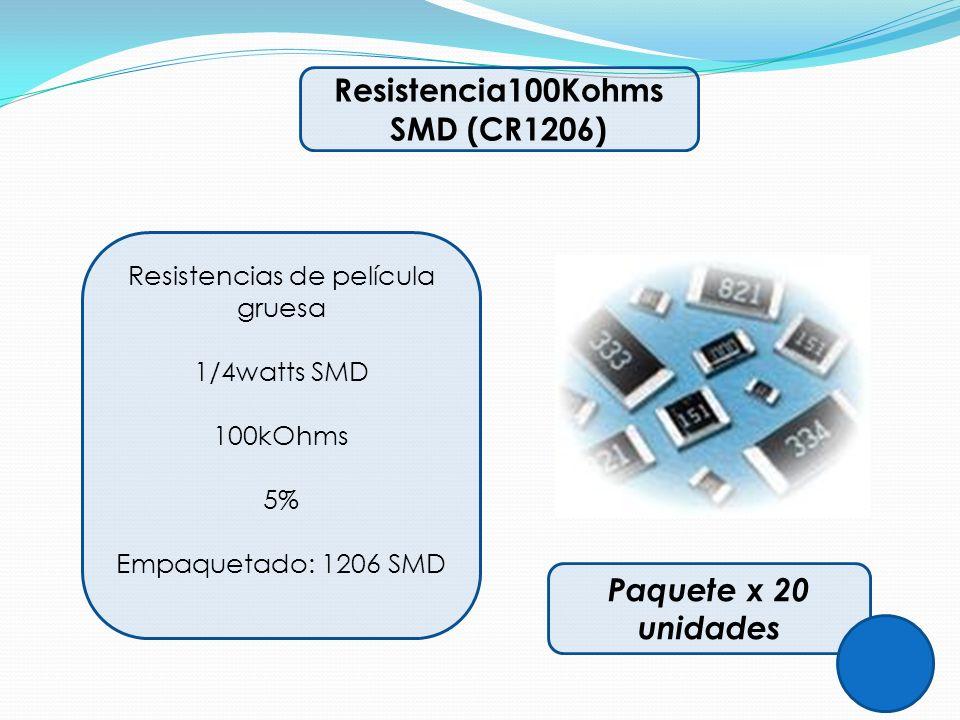Resistencia100Kohms SMD (CR1206) Resistencias de película gruesa 1/4watts SMD 100kOhms 5% Empaquetado: 1206 SMD Paquete x 20 unidades
