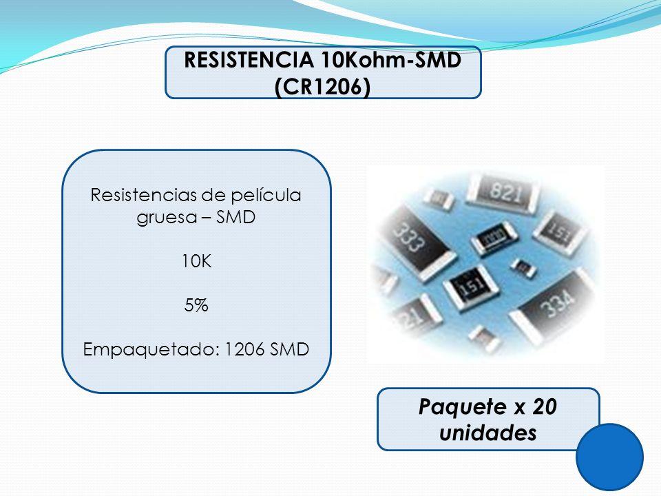 RESISTENCIA 10Kohm-SMD (CR1206) Resistencias de película gruesa – SMD 10K 5% Empaquetado: 1206 SMD Paquete x 20 unidades