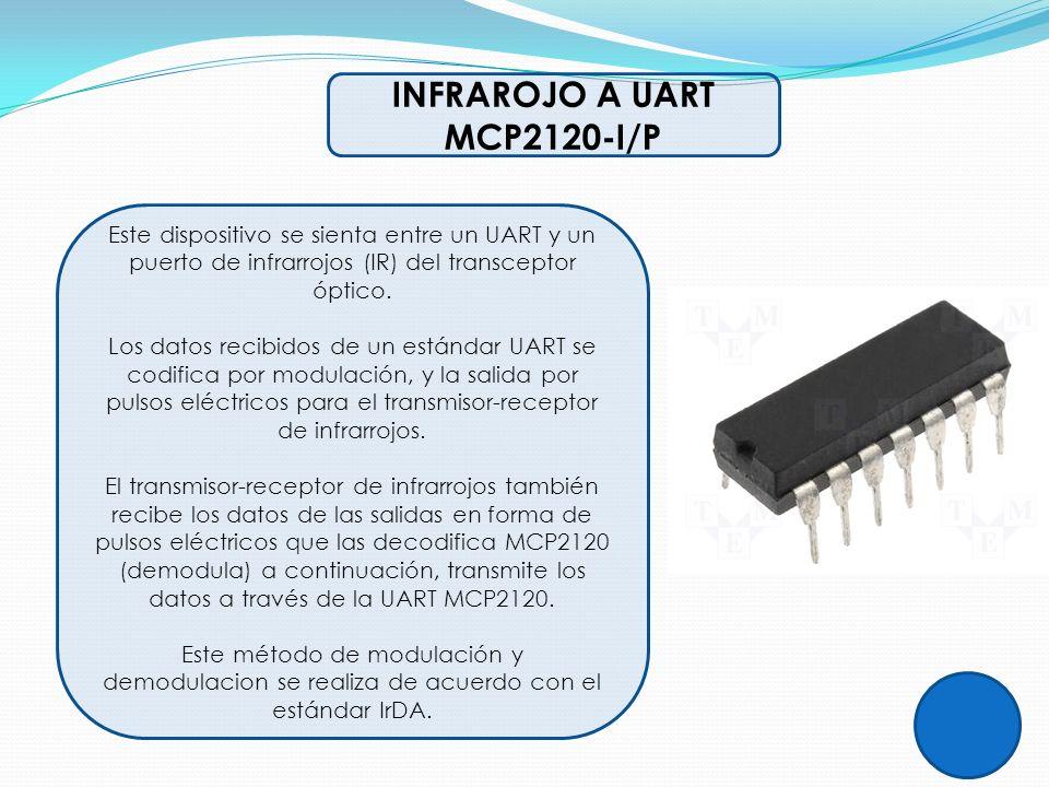 INFRAROJO A UART MCP2120-I/P Este dispositivo se sienta entre un UART y un puerto de infrarrojos (IR) del transceptor óptico. Los datos recibidos de u