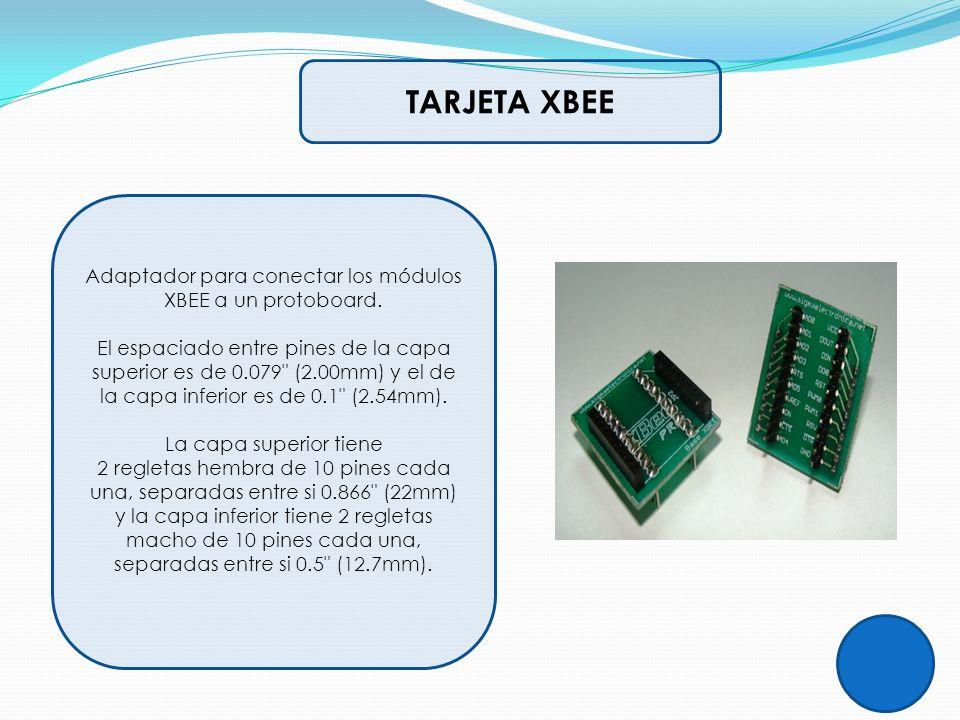 TARJETA XBEE Adaptador para conectar los módulos XBEE a un protoboard. El espaciado entre pines de la capa superior es de 0.079