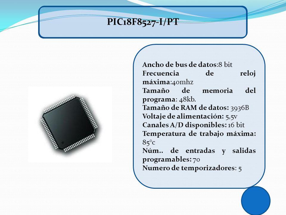 Ancho de bus de datos:8 bit Frecuencia de reloj máxima:40mhz Tamaño de memoria del programa: 48kb. Tamaño de RAM de datos: 3936B Voltaje de alimentaci