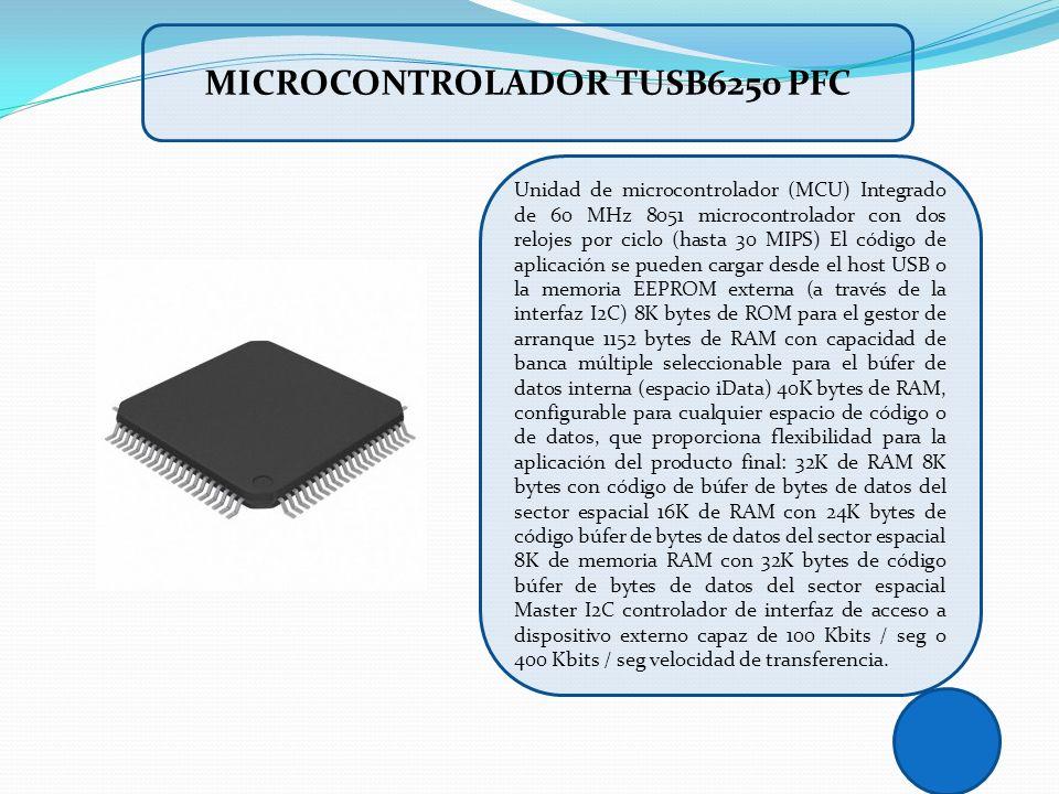 Unidad de microcontrolador (MCU) Integrado de 60 MHz 8051 microcontrolador con dos relojes por ciclo (hasta 30 MIPS) El código de aplicación se pueden