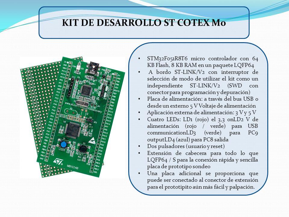 STM32F051R8T6 micro controlador con 64 KB Flash, 8 KB RAM en un paquete LQFP64 A bordo ST-LINK/V2 con interruptor de selección de modo de utilizar el