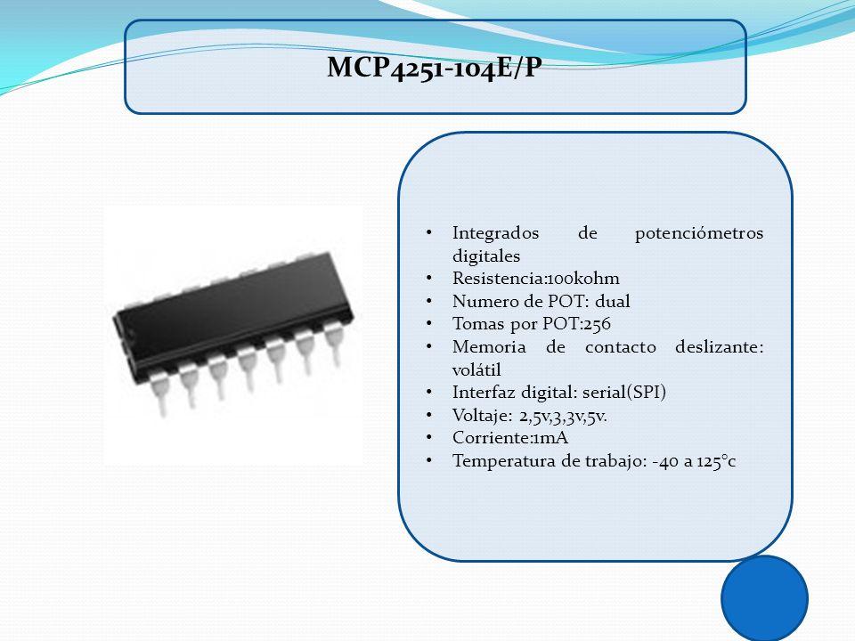 Integrados de potenciómetros digitales Resistencia:100kohm Numero de POT: dual Tomas por POT:256 Memoria de contacto deslizante: volátil Interfaz digi