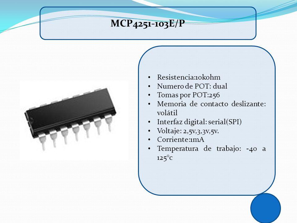 Resistencia:10kohm Numero de POT: dual Tomas por POT:256 Memoria de contacto deslizante: volátil Interfaz digital: serial(SPI) Voltaje: 2,5v,3,3v,5v.