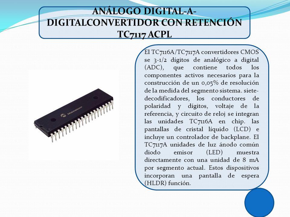 El TC7116A/TC7117A convertidores CMOS se 3-1/2 dígitos de analógico a digital (ADC), que contiene todos los componentes activos necesarios para la con