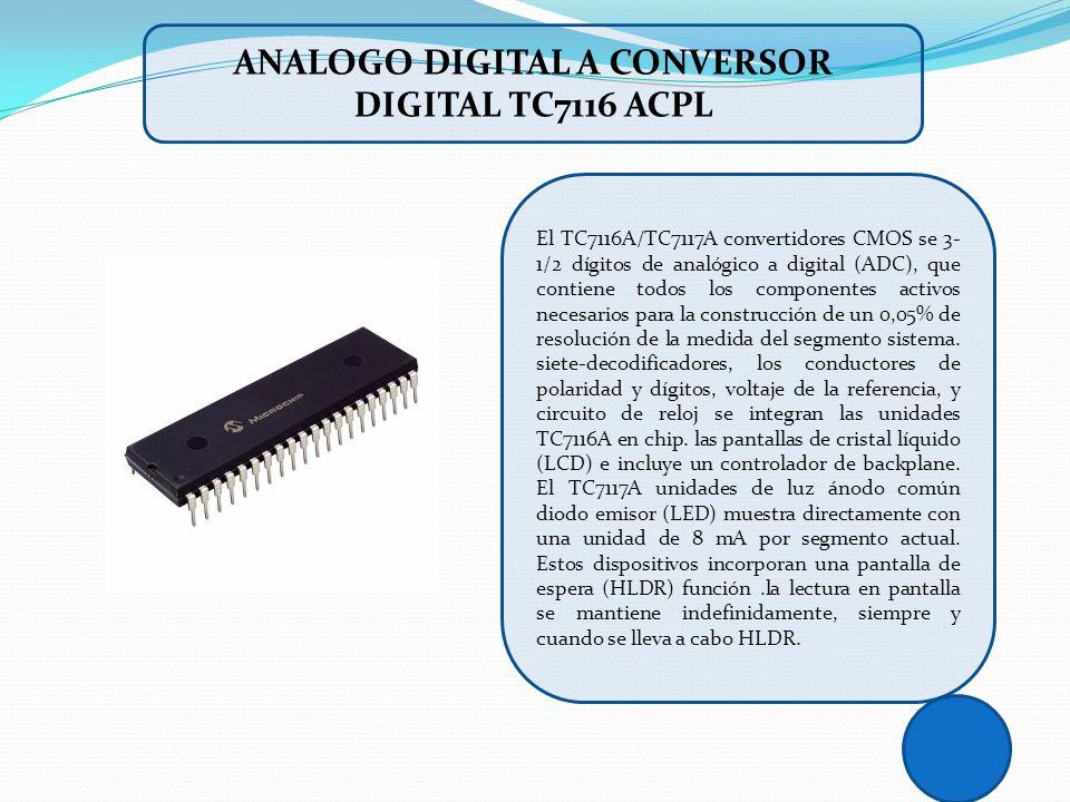 El TC7116A/TC7117A convertidores CMOS se 3- 1/2 dígitos de analógico a digital (ADC), que contiene todos los componentes activos necesarios para la co